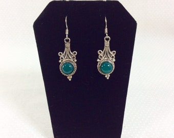 1990s Sterling Silver Drop Earrings with Circular Jade Stones