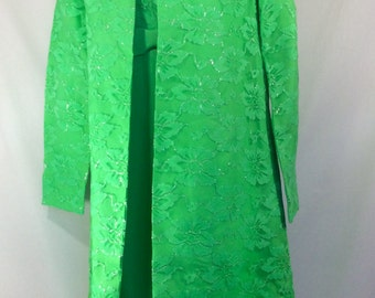 Womens 1960s Lime Green 2 Piece Dress/Jacket with Mandarin Collar and Metallic Silver Lace size 6