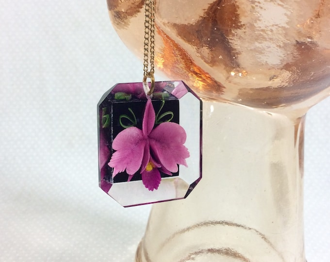 Featured listing image: 1960s Purple Orchid Intaglio Lucite Pendant Necklace on Gold Chain