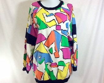 1980s Geometric Slouchy Color Blocked Top with Knit Accents size L