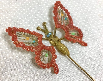 1960s Glittery Spring Loaded Butterfly Stick Pin with Rhinestone Eyes