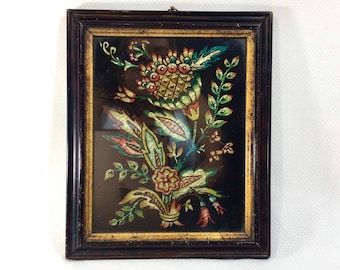 1970s Metallic Foil Boho Flower Art in Black and Gold Wooden Frame