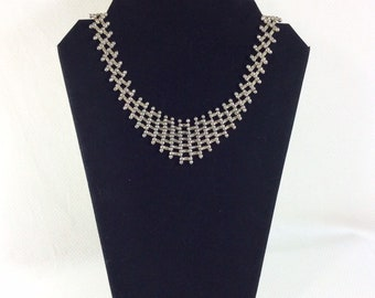 Vintage Silver Chainmale Bib Necklace with Abalone Clasp