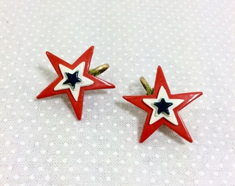 1970s Red White and Blue Tri-Star Clip On Earrings