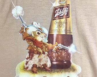 """1980s Schlitz Beer """"Gopher It!"""" Memorabilia Graphic Tee size M"""