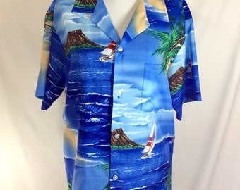 1980s Hawaiian Shoreline Short Sleeve Button Up Shirt size M