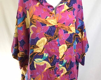 1980s Palm Beach Slouchy Tropical Short Sleeve Button Up Shirt size M