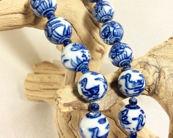 Vintage Long Chinese Porcelain Bead Necklace with Gold Metallic Clasp