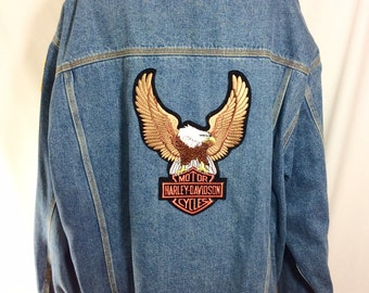 1990s Harley Davidson Patched Denim Jacket with Eagle size 3XL