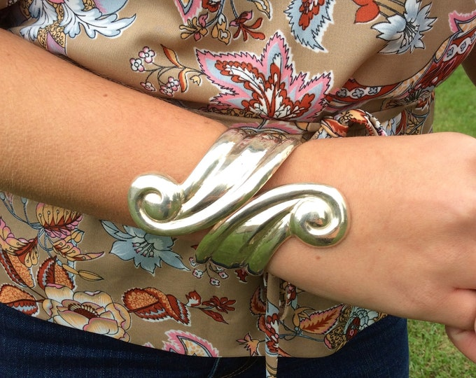 Featured listing image: Vintage Sterling Silver Swirly Hinged Cuff Bracelet