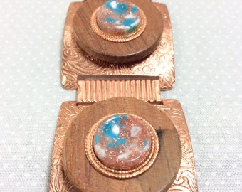 1960s Copper Link Bracelet with Confetti Lucite and Wooden Medallions