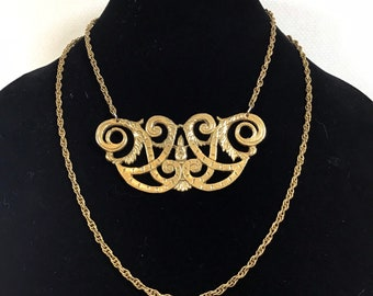 1980s Gold Brass Filigree 2 Strand Ornate Statement Necklace
