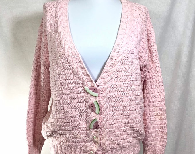 Featured listing image: 1980s Watermelon Button Pink Cotton Cardigan size S