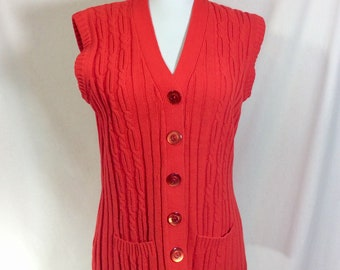 1970s Electric Orange Thelma Sweater Vest with Pockets and Moonglow Buttons size S