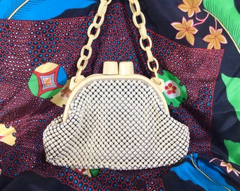 1940s Whiting Davis Mesh Clamshell Purse with Ivory Celluloid Chain Strap