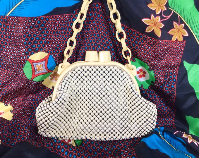 Featured listing image: 1940s Whiting Davis Mesh Clamshell Purse with Ivory Celluloid Chain Strap