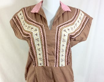 1960s Mexican Huipil Top with Mayan Symbols and Scalloped Trim size S