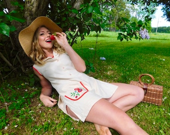 1960s Cotton Playsuit Romper with Embroidered Pocket size M
