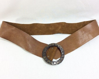 Vintage Reversable Genuine Leather Belt with Circular Studded Brass Buckle size S-M