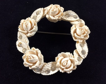 Vintage Ivory Colored Carved Rose Halo Brooch with Rhinestones