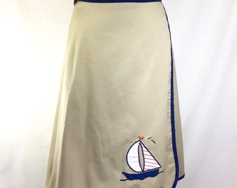 1970s Tan and Navy Sailboat Nautical Wrap Skirt size S