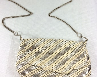 Vintage Metallic Silver Mesh Chainmale Purse with Art Deco Hardware and Long Chain Strap