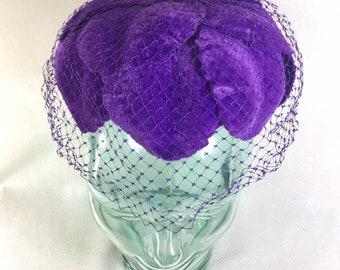 1950s Purple Velvet Leaf Fascinator with Mesh Veil