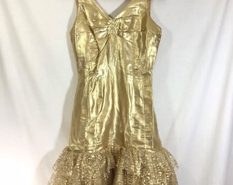 1960s Gold Party Dress with Rouched Bust and Lace Tulle Skirt size XS