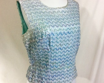 1960s Ice Blue Sequin Chevron Sleeveless Elsa Top size L