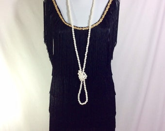 1990s Fringed Black Sleeveless Flapper Dress with Gold Sequin Neckline size S/M