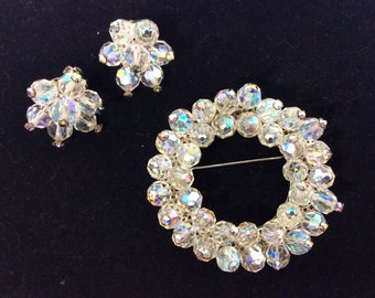 1970s Aurora Borealis Beaded Crystal Halo Brooch and Cluster Clip-On Earring Set