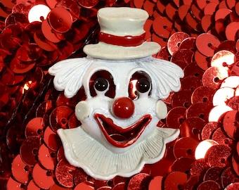 1970s Signed Cast Metal Clown Brooch