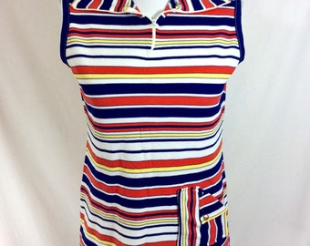 1970s Striped Zip Collared Tank with Folded Pocket and Gold Button size S/M