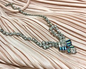 "1960s ""Something Blue"" Sparkling Rhinestone Tapered Necklace"