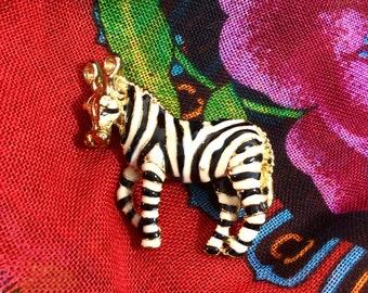 1980s Enamel Zebra Brooch with Rhinestone Eyes