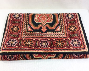 Vintage Tapestry Clutch Bag with Black Silk Lining