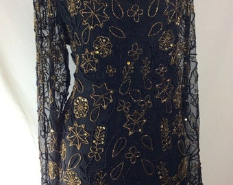 30% OFF! Womens Vintage Black Silk Cocktail Dress with Metalic Gold Beading size L