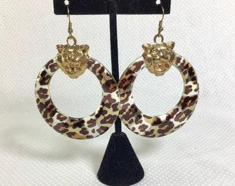 1990s Tiger Head Leopard Print Hoop Earrings