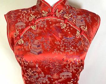 1970s Red Silk Sleeveless Short Cheongsam Dress size M