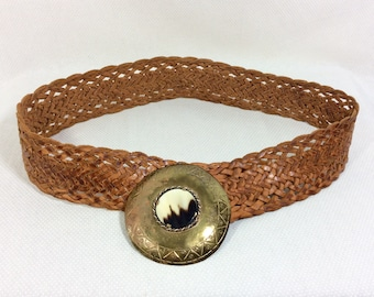 1970s Woven Leather Belt with Brass and Horn Medallion Buckle size S-M
