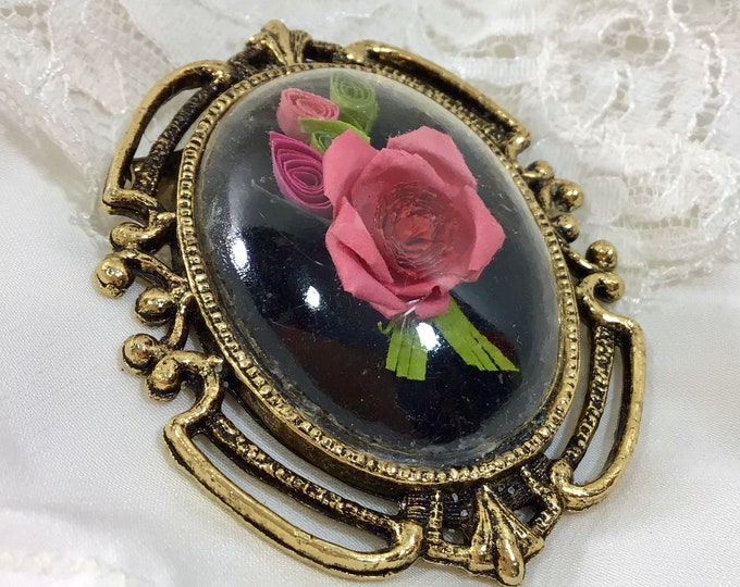 Featured listing image: 1980s Romantic Paper Rose Cameo Pendant/ Brooch