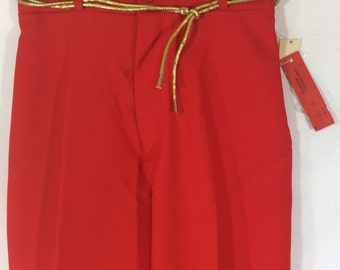 Womens 1970s DEADSTOCK and UNION MADE Red High Waisted Polyester Pants with Gold Belt size 6