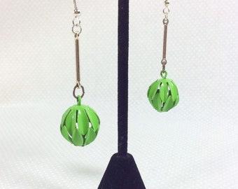 1960s Groovy Lime Green Metal Sphere Cutout Dangle Earrings