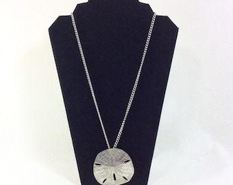 Vintage Pewter Sand Dollar Pendant Necklace on Long Chain