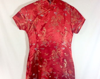 1990s Red Satin Short Sleeve Cheongsam Dress with Dragon Print size S/M