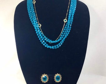1960s Teal Love Bead and Groovy Gold Necklace and Earrings Set