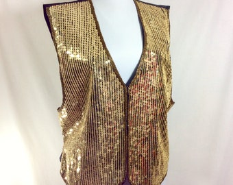 1990s Gold Sequin and Glass Bead Silk Vest size L-XL