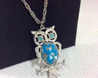 1970s Confetti Lucite and Rhinestone Owl Pendant on Long Silver Chain