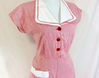 1940s Striped Cotton Nurse Dress with Short Sleeves and Cherry Red Celluloid Buttons size S/M