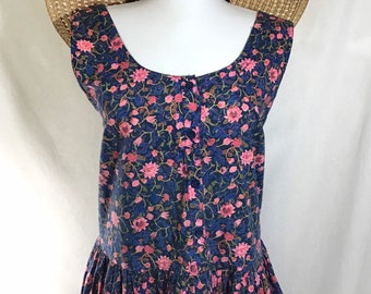 1980s Hawaiian Cotton Floral Tank Dress with Pockets size XL